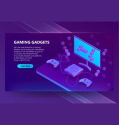 3d isometric gaming site electronic vector image