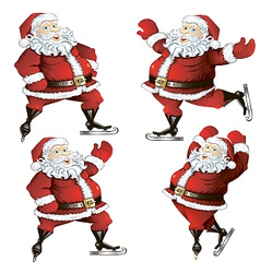 a set of skating santas vector image