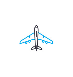 aircraft thin line stroke icon aircraft vector image
