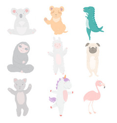 Animal cartoon character set flat design vector