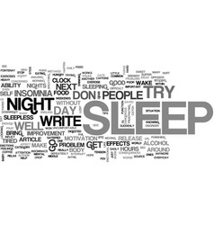 are you tired of insomnia text word cloud concept vector image