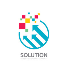 arrows and abstract shapes - business logo vector image