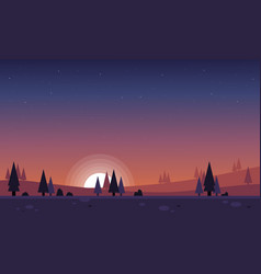 At sunset landscape for game background vector