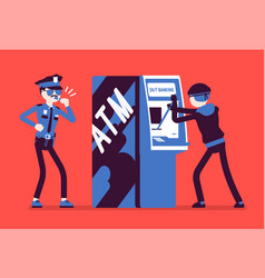 Atm hacking crime vector