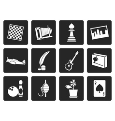 Black hobby leisure and holiday icons vector
