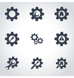 black tools in gear icon set vector image
