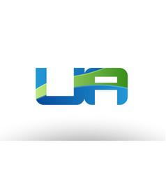 Blue green ua u a alphabet letter logo vector