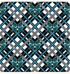 Blue ribbon bow and tartan plaid seamless vector