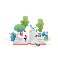 Book festival concept - a group of tiny people vector