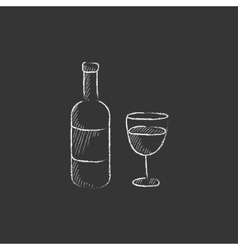 Bottle of wine drawn in chalk icon vector