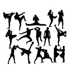 boxing sport silhouettes activity vector image