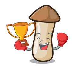 Boxing winner pleurotus erynggi mushroom mascot vector