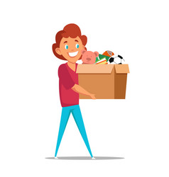 Boy carrying toys in box flat vector