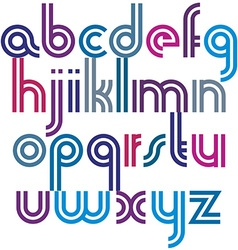 Bright lowercase letters with rounded corners vector image