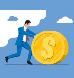businessman pushing large golden coin vector image