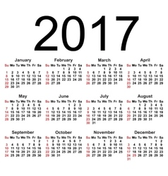 Calendar for 2017 on white background EPS8 vector image