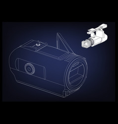 camera on blue vector image