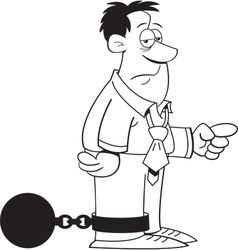Cartoon Ball and Chain Man vector image vector image