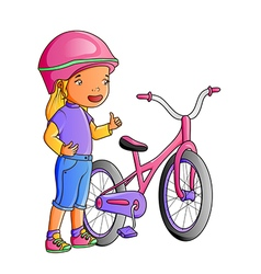 Cartoon cute little girl with bicycle vector image