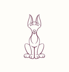 cartoon doberman in the ink contour style vector image