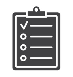 checklist glyph icon clipboard and note vector image