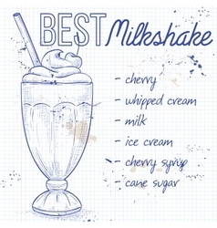 Cherry milkshake recipe on a notebook page vector image