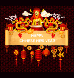 Chinese new year greeting card on parchment scroll vector