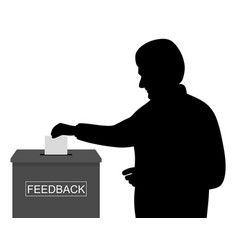 Customer or employee putting paper in feedback box vector