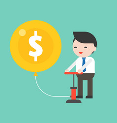 Cute business man pumping air in money balloon vector