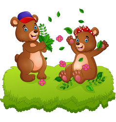 cute couple of teddy bears playing with fallen lea vector image