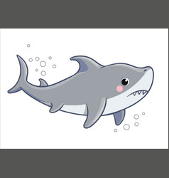 Cute sad shark on a white background vector