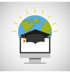 Education online global cap graduation vector