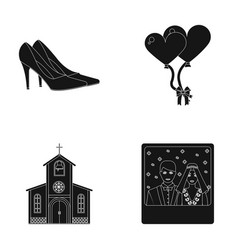 Elegant wedding shoes with heels balloons for the vector
