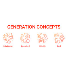 Generation red concept icons set age groups idea vector