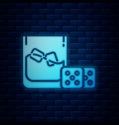 Glowing neon game dice and glass whiskey with vector