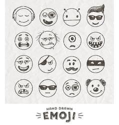 Hand drawn set of Emoticons vector