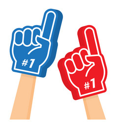 hand wearing foam finger number one and best vector image