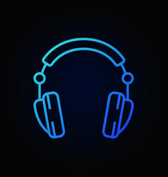 headphones blue icon in line style on dark vector image