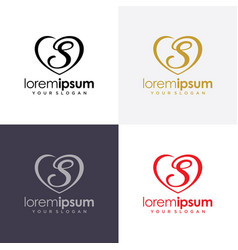 heart icon with initial logo design vector image