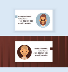 hipster barber shop business card design template vector image