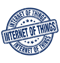 Internet of things blue grunge stamp vector