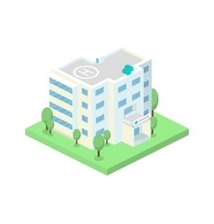 isometric hospital building and landscape vector image