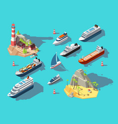 Isometric ships boats and sailing vessels ocean vector
