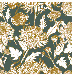 Japanese chrysanthemum hand drawn seamless pattern vector
