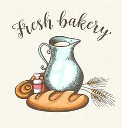 jug of milk and fresh bread vector image