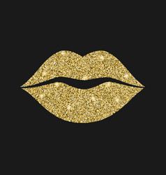 Lip icon with glitter effect isolated on black vector