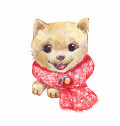 little watercolor portrait of dog in red santa vector image