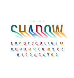 long shadow style font alphabet letters and vector image
