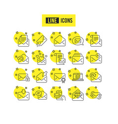 mail messages line icons set of newsletter e vector image