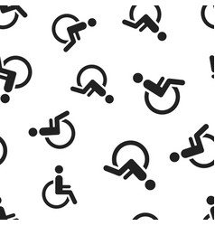 man in wheelchair seamless pattern background vector image